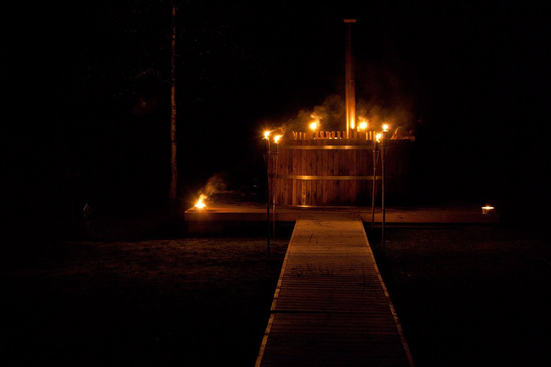 To the barrel sauna!
