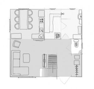 План первого этажа большого дома